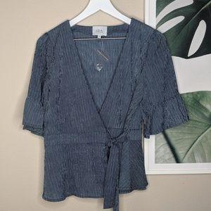 J.O.A. Pinstripe Tie Front Wrap Shirt Blue NWOT